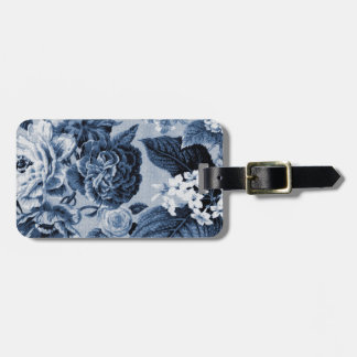 Indigo Blue Vintage Botanical Floral Toile No.1 Bag Tag