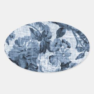 Indigo Blue Vintage Botanical Floral Toile No.5 Oval Sticker