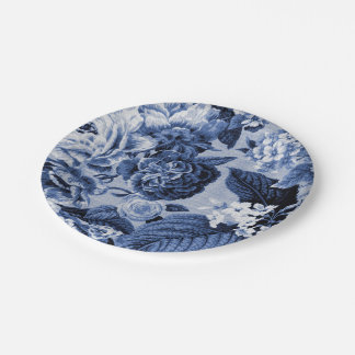 Indigo Blue Vintage Botanical No Bugs Floral Toile 7 Inch Paper Plate