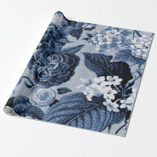 Indigo Blue Vintage Floral Toile Fabric No.1
