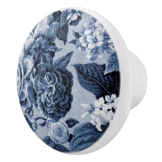 Indigo Blue Vintage Floral Toile No.1 Ceramic Knob