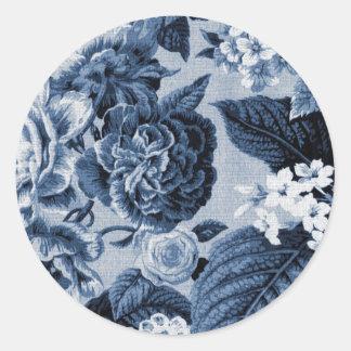 Indigo Blue Vintage Floral Toile No.1 Round Sticker
