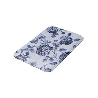 Indigo Blue Vintage Floral Toile No.2 Bath Mat