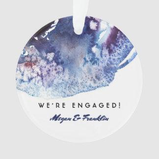 Indigo Blue Watercolor Modern Wedding / Engagement Ornament
