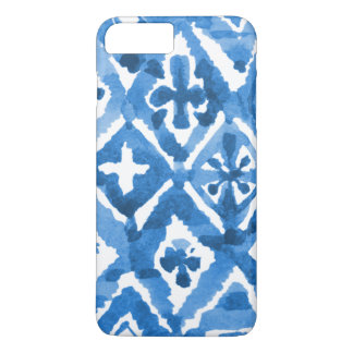 Indigo Blue Watercolor Mosaic Design - iPhone Case