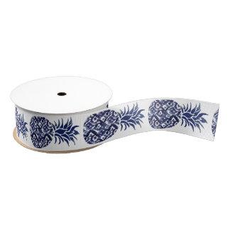 indigo blue watercolor pineapples grosgrain ribbon