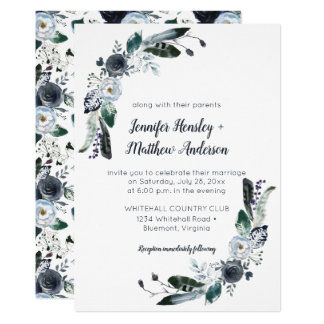 Indigo Blue White Black Boho Watercolor Wedding Card
