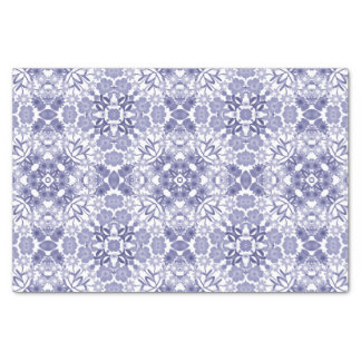 Indigo Blue White Floral Lace Tissue Paper