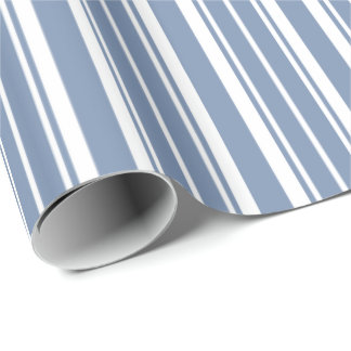 Indigo Blue, White Ticking Stripes Wrapping Paper