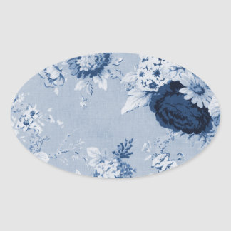 Indigo Blue White Vintage Floral Toile No.1 Flower Oval Sticker