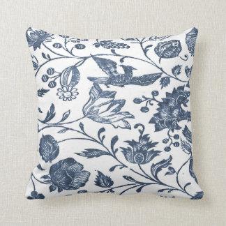 Indigo Blue Woodblock Floral Pillow