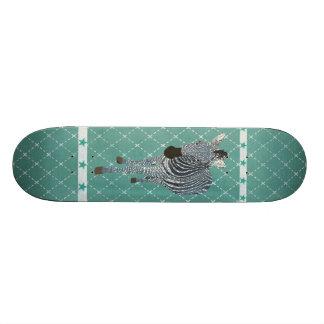 Indigo Blue Zebra Grunge Star Skateboard