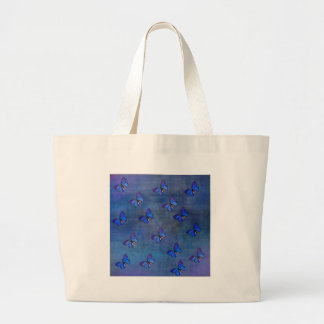 INDIGO BUTTERFLY PATTERN LARGE TOTE BAG