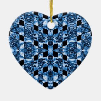 Indigo Check Ornate Ceramic Heart Ornament