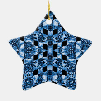 Indigo Check Ornate Ceramic Star Ornament