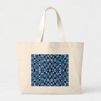 Indigo Check Ornate Large Tote Bag