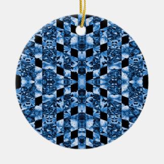 Indigo Check Ornate Round Ceramic Ornament