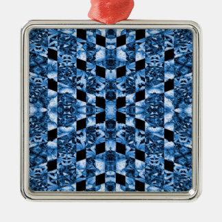 Indigo Check Ornate Silver-Colored Square Ornament