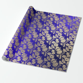Indigo Cobal Blue Gold Floral Powder Floral Foxier Wrapping Paper