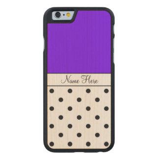 Indigo Custom Name, Black Polka Dots Carved® Maple iPhone 6 Case