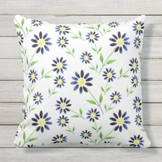 Indigo Daisy Pattern Throw Pillow