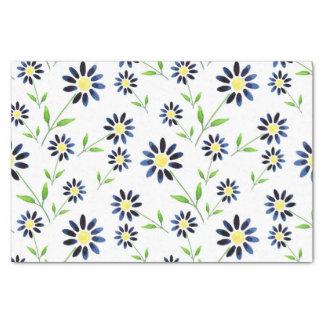 Indigo Daisy Pattern Tissue Paper