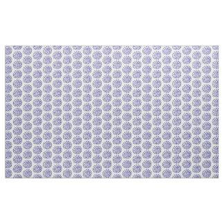 Indigo dark blue striped circle pattern on white fabric