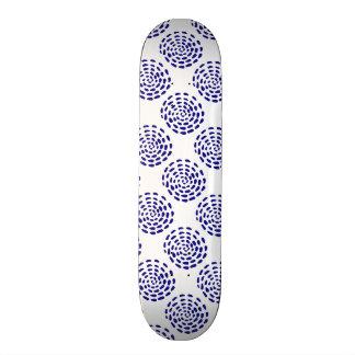 Indigo dark blue striped circle pattern on wood custom skate board