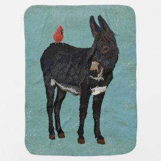 INDIGO DONKEY & CARDINAL Baby Blanket