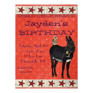 INDIGO DONKEY & OWL Birthday Invitation