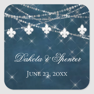 Indigo Fleur de Lis White Lights | French Wedding Square Sticker