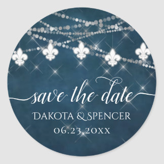 Indigo Fleur de Lis White Lights | Save the Date Classic Round Sticker