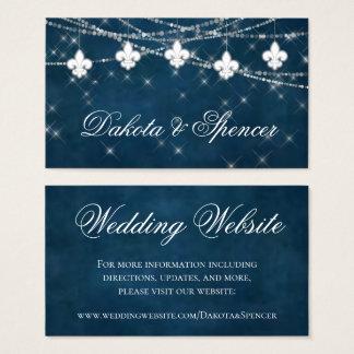 Indigo Fleur de Lis White Lights | Wedding Website Business Card