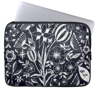 Indigo Floral bouquet - personalized initials Laptop Sleeve
