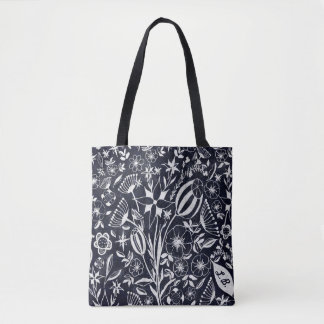 Indigo Floral bouquet - personalized initials Tote Bag