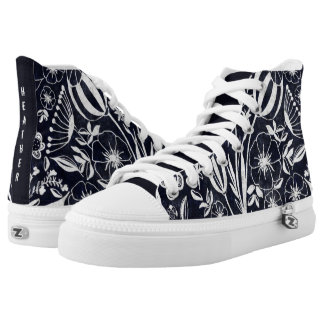 Indigo Floral bouquet - personalized name High Tops