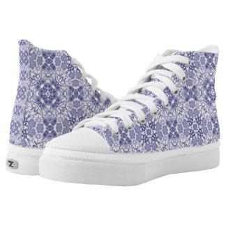 Indigo Floral Filigree High Top Sneakers