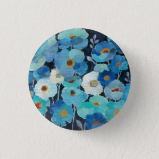 Indigo Flowers 1 Inch Round Button