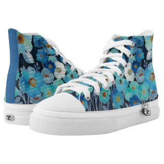 Indigo Flowers High Tops