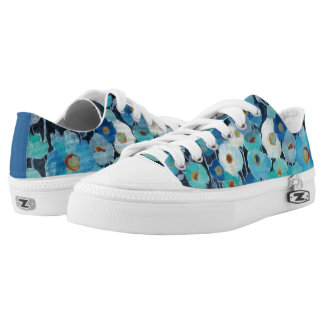 Indigo Flowers Low-Top Sneakers