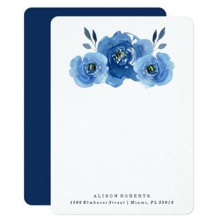 Indigo Flowers | Personalized Stationery Card