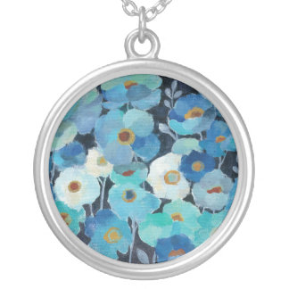 Indigo Flowers Silver Plated Necklace