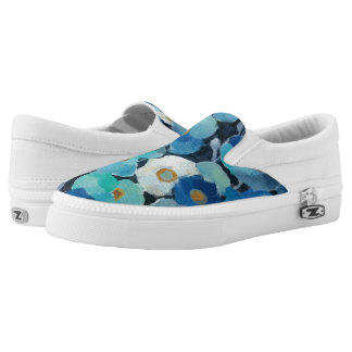 Indigo Flowers Slip-On Sneakers