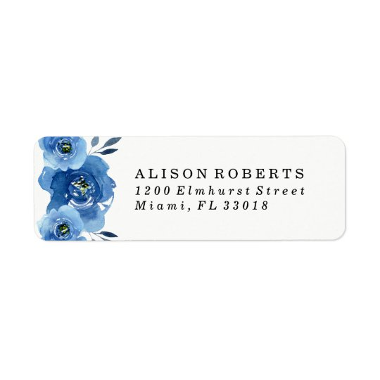 Indigo Flowers | Wedding Return Address Labels