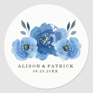 Indigo Flowers | Wedding Round Sticker