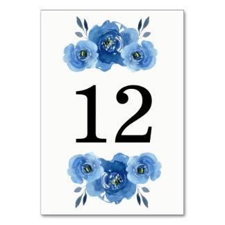 Indigo Flowers | Wedding Table Number