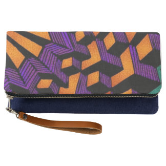 Indigo Fold  abstract Clutch