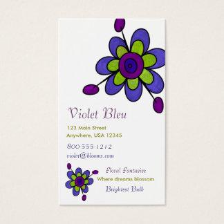 Indigo & Green Fun Flowers Business Card