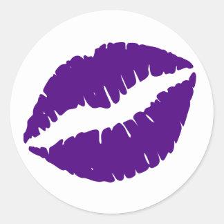 Indigo Lipstick Print Classic Round Sticker