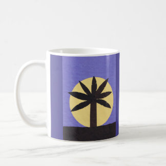 Indigo Mug with Silhouetted Palm and Full Moon